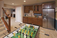Example of simple wet bar with full fridge. Wet Bar Basement, Basement Ideas, Entertainment Center Makeover, Entertainment Area, Full Fridge, Living Room Bookcase, Pulte Homes, Tv Decor, Home Decor