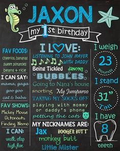 Birthday Chalkboard Poster Sign • Under the Sea Theme • Free economy shipping • Fast turnaround time • Great customer service • These birthday boards are custom, high resolution digital files that are personalized for each customer upon order