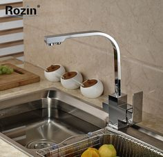 96.99$  Watch here - http://alicz3.worldwells.pw/go.php?t=32492966640 - Polished Chrome Swivel Spout Dual Handles Kitchen Sink Faucet With Pure Water Tap Deck Mount 96.99$