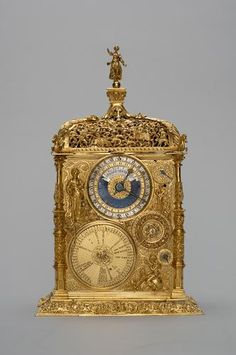 Antique German bronze gold-plated clock signed Jeremias Metzker, 1564, made in Augspur. H 29.7 cm