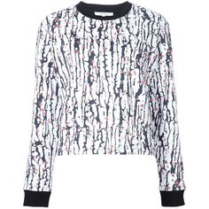 Carven printed sweatshirt (13.320 RUB) ❤ liked on Polyvore featuring tops, hoodies, sweatshirts, white, print sweatshirt, white sweatshirts, colorful tops, white top and print top