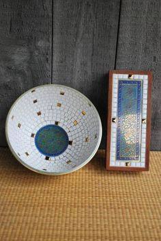 This is an amazing pair of coordinated Georges Briard pieces: a large bowl and a rectangular wooden box; both decorated with white and turquoise.