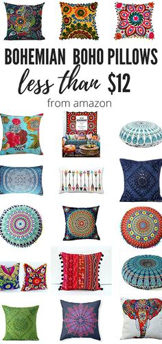 "Colorful Bohemian Throw Pillows That Will Make You Say, ""Wow!"" Affordable Bold and Colorful Bohemian Throw Pillows and Boho Chic Pillow Covers!Affordable Bold and Colorful Bohemian Throw Pillows and Boho Chic Pillow Covers! Boho Throw Pillows, Bohemian Pillows, Diy Pillows, Bohemian Dorm, Decorative Pillows, Pillow Ideas, Couch Pillows, Bohemian Apartment Decor, Boho Cushions"