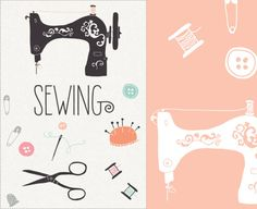 CLIP ART and Photoshop Brushes - Sewing - for commercial and personal use. $8.00, via Etsy.