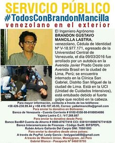 (Sigueme en Instagram/LAEMINENCIAreal Gracias a todos los que han colaborado... Sigue recuperando pero no ha despertado  #TodosConBrandonMancilla este es un sobrino que en Perú tuvo un accidente muy fuerte y está en cuidados intensivos! Quién pueda tender su mano aquí están los contactos. Es un #Venezolano fuera que necesita de nosotros. Si difundes esta información tambien es de mucha ayuda! Gracias #TodosConBrandon #BrandonMancilla #VenEx #VenezolanosEnPeru #serviciopublico #ayuda #sos…