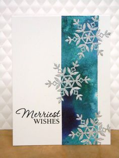 She used Color Burst powders and inlaid die cuts, but I& likely shortcut it with watercolored or an inking technique background, along with silver embossed snowflakes. Homemade Christmas Cards, Handmade Christmas, Homemade Cards, Christmas Crafts, Prim Christmas, Silver Christmas, Xmas Cards, Holiday Cards, Die Cut Christmas Cards