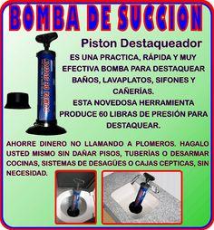 Bomba Destaqueadora De Succion Baños Lavaplatos Sifones Casa - $ 31.990 en MercadoLibre