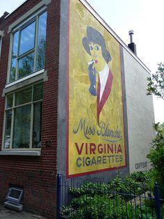 Bergen op Zoom, Parallelweg muurreclame Miss Blanche Building Signs, Old Wall, My Town, Vintage Love, Bergen, Urban Art, Looking Up, Murals, Netherlands