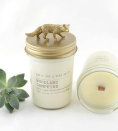 Fox Lid Campfire Scented Soy Candle by Let's Put A Bird On It on Scoutmob Shoppe   $24