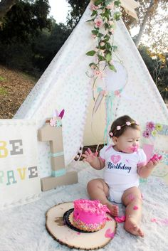 Wild one girl , tribal Birthday, first birthday, tee pee , pow wow , cake smash