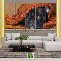Cute Pug in Blanket, Multi Panel Framed Canvas Set, Black Puppy Lying Home Wall Art, Pug Dog Face HD Print Decor, Pet Animal Decoration Gift by GTCreativeArt on Etsy Bird Wall Art, Home Wall Art, Black Puppy, Cute Pugs, Animal Decor, Framed Canvas, Pet Birds, French Bulldog, Puppies