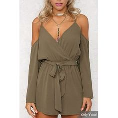 Yoins Plunge V-neck Cold Shoulder Playsuit (£12) ❤ liked on Polyvore featuring jumpsuits, rompers, green, green rompers, long sleeve romper, v neck romper, brown romper and open-back rompers