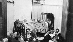 Great Depression in Canada Pictures: Men Crowded Into a Room to Sleep During the Great Depression