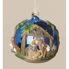 Pack of 4 Fontanini LED Lighted Glass Ball Christmas Nativity Ornaments
