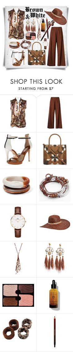 """""""Brown and White for Summer"""" by imbeauty ❤ liked on Polyvore featuring Oris, Gucci, SEMICOUTURE, Michael Kors, MICHAEL Michael Kors, Dinosaur Designs, Lizzy James, Daniel Wellington, Karen Kane and Chan Luu"""