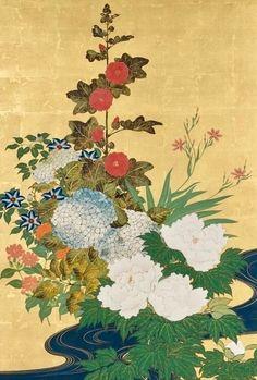 Detail. Sakai Hōitsu (1761-1828), 流水四季草花図屏風. Plants and flowers of the four seasons and flowing water. Pair of two-panel folding screens. Japan. Edo period. Rinpa School. Tokyo National Museum.