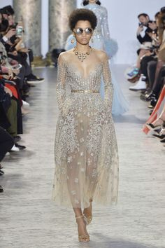 Nina Garcia's Favorite Looks from the Spring 2017 Couture Runway Nina loved this look by Elie Saab!  Elie Saab's bejeweled masterpiece is like an optical illusion.