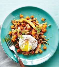 Chicken Sweet Potato Hash with Poached Eggs
