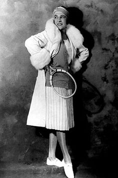 Suzanne Lenglen modeling a Jean Patou tennis ensemble, 1921. Photo by Hulton Archive/Getty Images