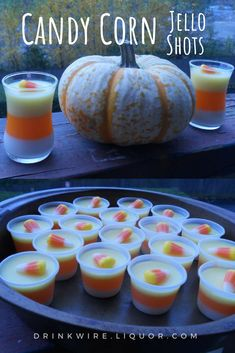 What says Halloween party more than candy corn jello shots? This boozy, adults-only vodka cocktail will be a hit with friends. Halloween Jello Shots, Halloween Party, Halloween Cocktails, Halloween Kids, Halloween Treats, Thanksgiving Drinks, Thanksgiving Side Dishes, Irish Cream, Candy Corn Jello Shots