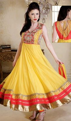 Yellow Flared Net Anarkali Dress Price: Usa Dollar $262, British UK Pound £154, Euro192, Canada CA$281 , Indian Rs14148.