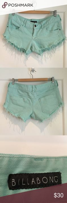 Aqua frayed billabong shorts cute frayed surfer style shorts. size 5, but I wear a 6 and they fit fine Billabong Shorts