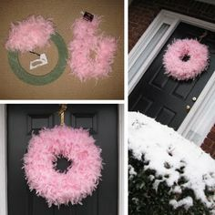 LOVE fluffy feathers- DIY feather boa wreath--white for Christmas, pink for baby shower, red for Valentine's Day, etc. So easy! Styrofoam ring and dollar store feather bos. Cute Crafts, Crafts To Make, Diy Crafts, Wreath Crafts, Diy Wreath, Door Wreaths, Snowman Wreath, Wreath Ideas, Dollar Store Crafts