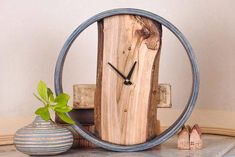 Round Rustic Wooden Wall Clock