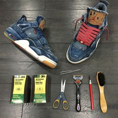 56d16fc2bd7 Levis x Air Jordan 4 Retro Distressed Denim (jeans déchiré) (1) Air