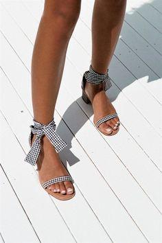 Gingham Block Heels - Shoes by Sabo Skirt Sock Shoes, Cute Shoes, Me Too Shoes, Crazy Shoes, Shoes Heels, Strappy Shoes, Footwear Shoes, Flats, Strap Heels