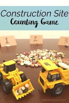 Use dump trucks and diggers to play this construction site counting game for a Goodnight, Goodnight Construction Site preschool story extension activity.: