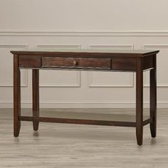 Console Table with Once Center Drawer and Lower Bottom Shelf For Display or Storage Wood Veneers Material in Dark Cherry Color Furniture