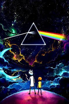 Rick and Morty finds The Dark Side of the Moon from Pink Floyd Trippy Wallpaper, Galaxy Wallpaper, Cartoon Wallpaper, Wallpaper Backgrounds, Wallpaper Art, Android Wallpaper Dark, Iphone Backgrounds, Photo Wallpaper, Screen Wallpaper