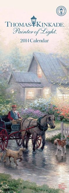 """Each monthly spread of the striking Thomas Kinkade Painter of Light 2014 Slimline Calendar features a specially selected full-color image accompanied by a classic quote like this one from Rachel Carson: """"Those who contemplate the beauty of the earth find reserves of strength that will endure as long as life lasts."""" 