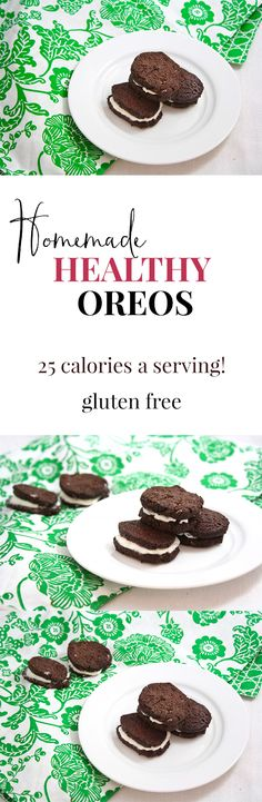 Homemade healthy Oreos- vegan, gluten free, grain free, low carb, and only 25 calories each!