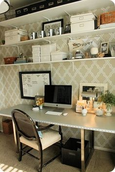 clean, clutter free lines on this home made desk by @emily {for @Jacquelyn McMahan}