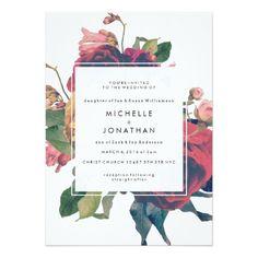 Uitnodiging van het Huwelijk Boho van antiek Rozen