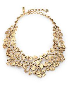 Oscar de la Renta - Cascading Ginko Leaf Bib Necklace