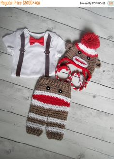 Baby Sock Monkey Outfit Baby boy Bodysuit Suspender by LovelyJC Sombrero  Del Búho De Ganchillo 713be2cb23a