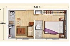 Construirán mini departamentos de 25 but make Small Apartment Design, Apartment Layout, Studio Apartment, Small Apartments, Small Spaces, Small Floor Plans, Small House Plans, House Floor Plans, Bungalow