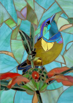 Collared Sunbird Greetings Card - Iridescent Sunbird Mosaic - Mosaic Art by LAMosaicGifts on Etsy https://www.etsy.com/listing/454765330/collared-sunbird-greetings-card