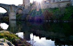 Toledo Spain Tagus river bridge . Puente de rio Tajo .