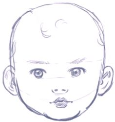 Finished Drawing of Baby in Illustration Style Tutorial