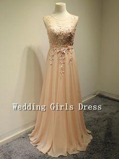 A-line Champagne Lace Skeevekess Sweetheart Long Chiffon Dress Long Bridesmaid Dress Evening Dress Prom Dress Party Dress Formal Dress on Etsy, $179.00
