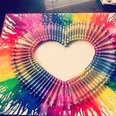 melted crayons in the shape of a heart:)
