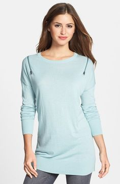 Caslon® Zip Shoulder Crewneck Tunic Sweater (Regular & Petite) available at #Nordstrom