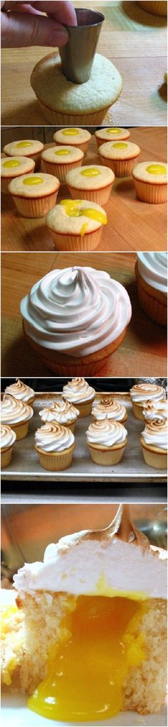 Lemon Meringue Cupcakes - to hell-oooh with the diet Cupcake Flavors, Cupcake Recipes, Baking Recipes, Dessert Recipes, Cupcake Ideas, Cupcakes, Cake Cookies, Cupcake Cakes, Just Desserts
