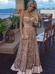 Unique Lace Strapless Long Prom Dress,Sweetheart Floor Length Evening Dress,Beaded Prom Gown