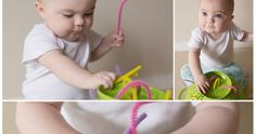 We did this fun little activity when Lilly was 8 months old. It was so much fun and so easy! All you need is a colander from your kitc...