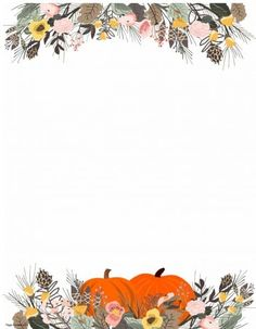 Cute Girl Wallpaper, Cute Patterns Wallpaper, Fall Wallpaper, Printable Border, Templates Printable Free, Printable Labels, Thanksgiving Flowers, Thanksgiving Background, Thanksgiving Iphone Wallpaper